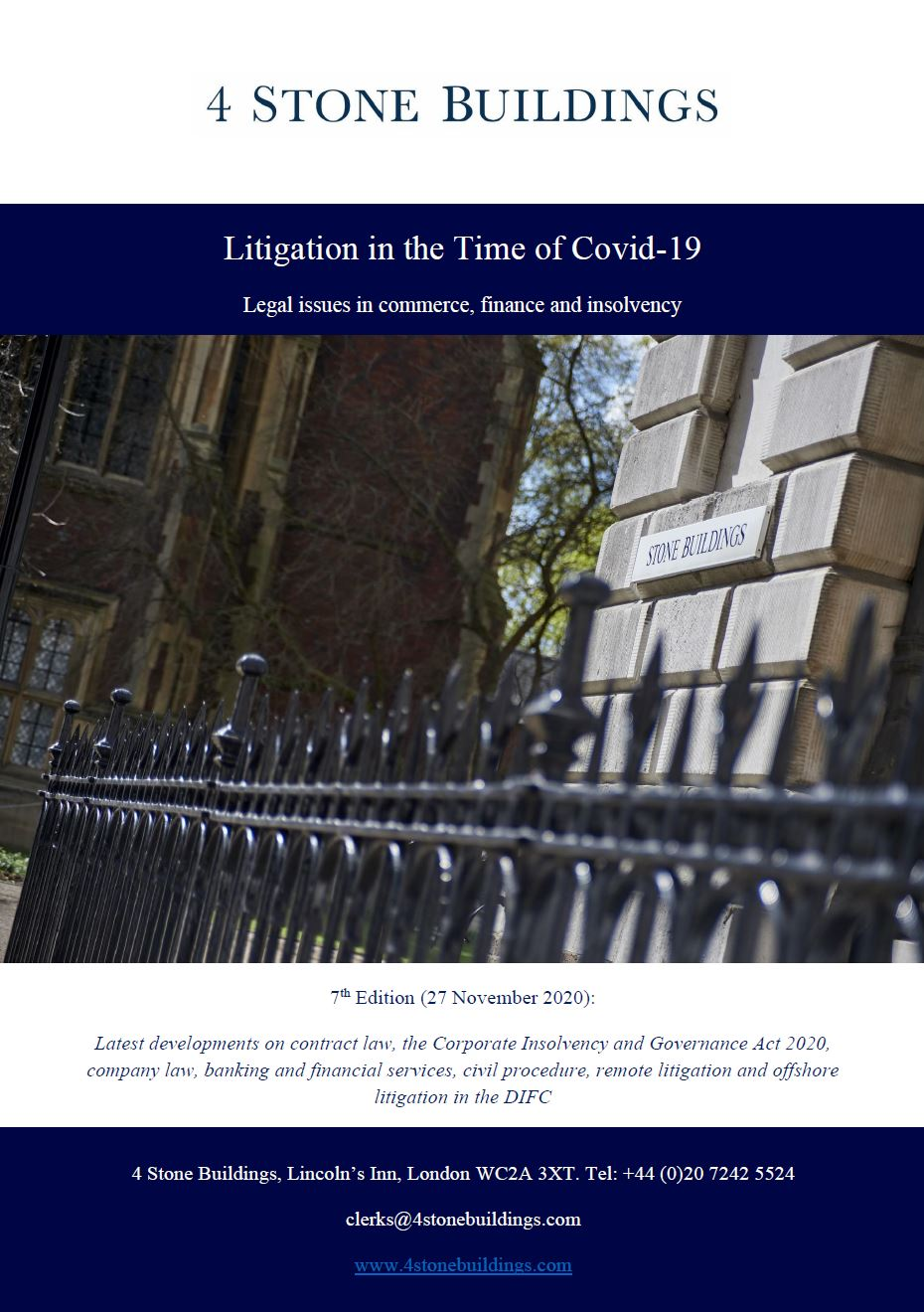 4 Stone Buildings publishes seventh edition of 'Litigation in the Time of Covid-19'